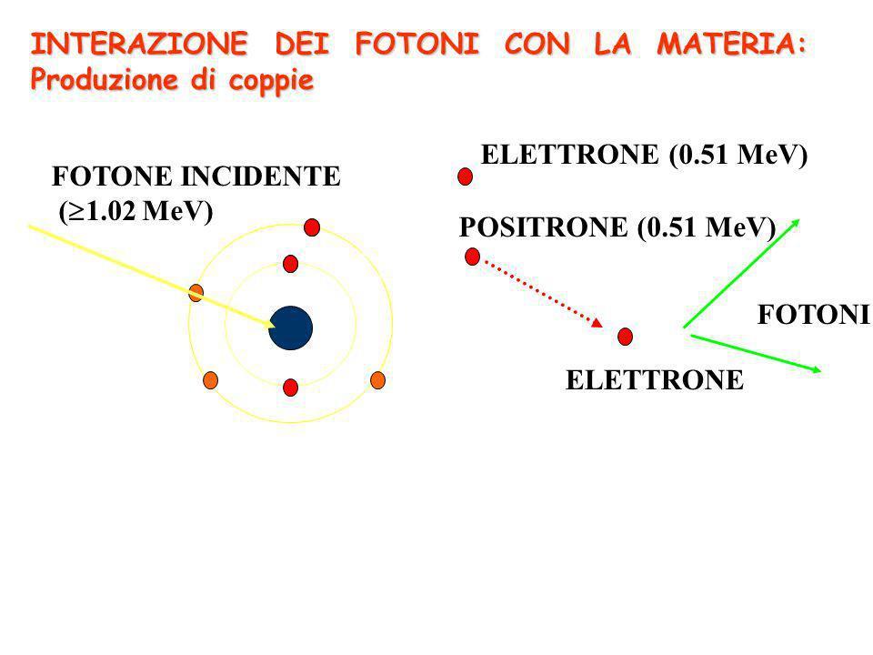 FOTONE INCIDENTE ( 1.02 MeV) ELETTRONE POSITRONE (0.51 MeV) ELETTRONE (0.51 MeV) FOTONI INTERAZIONE DEI FOTONI CON LA MATERIA: Produzione di coppie