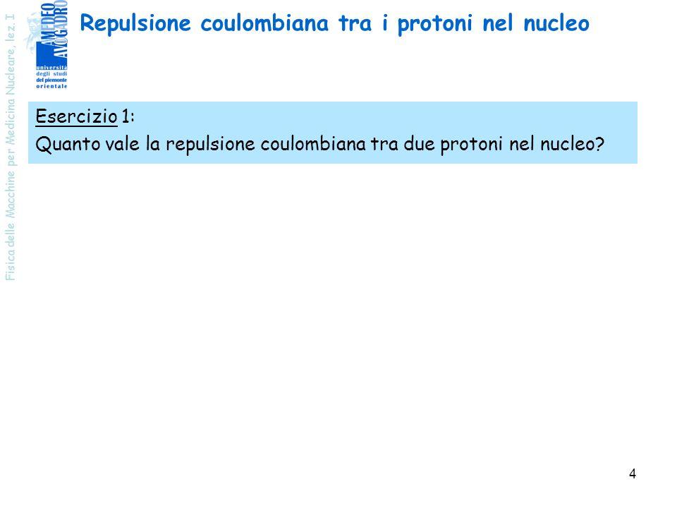 Fisica delle Macchine per Medicina Nucleare, lez. I 4 Esercizio 1: Quanto vale la repulsione coulombiana tra due protoni nel nucleo? Repulsione coulom
