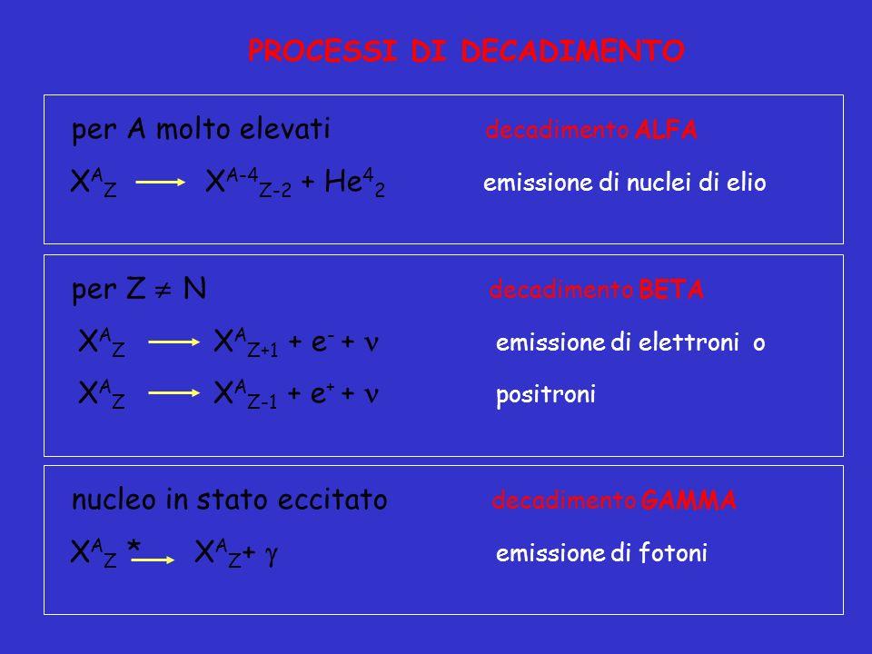 per A molto elevati decadimento ALFA X A Z X A-4 Z-2 + He 4 2 emissione di nuclei di elio PROCESSI DI DECADIMENTO nucleo in stato eccitato decadimento