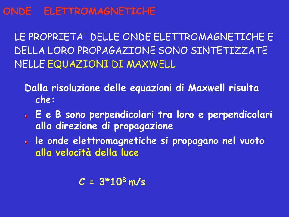 Dalla risoluzione delle equazioni di Maxwell risulta che: E e B sono perpendicolari tra loro e perpendicolari alla direzione di propagazione le onde e
