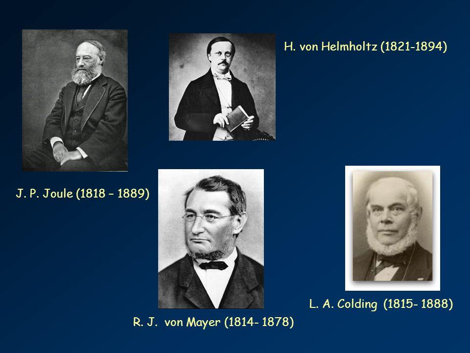 J. P. Joule (1818 – 1889) R. J. von Mayer (1814- 1878) H. von Helmholtz (1821-1894) L. A. Colding (1815- 1888)