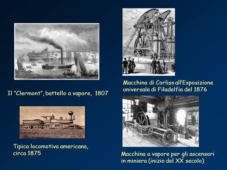Il Clermont, battello a vapore, 1807 Tipica locomotiva americana, circa 1875 Macchina di Corliss allEsposizione universale di Filadelfia del 1876 Macc
