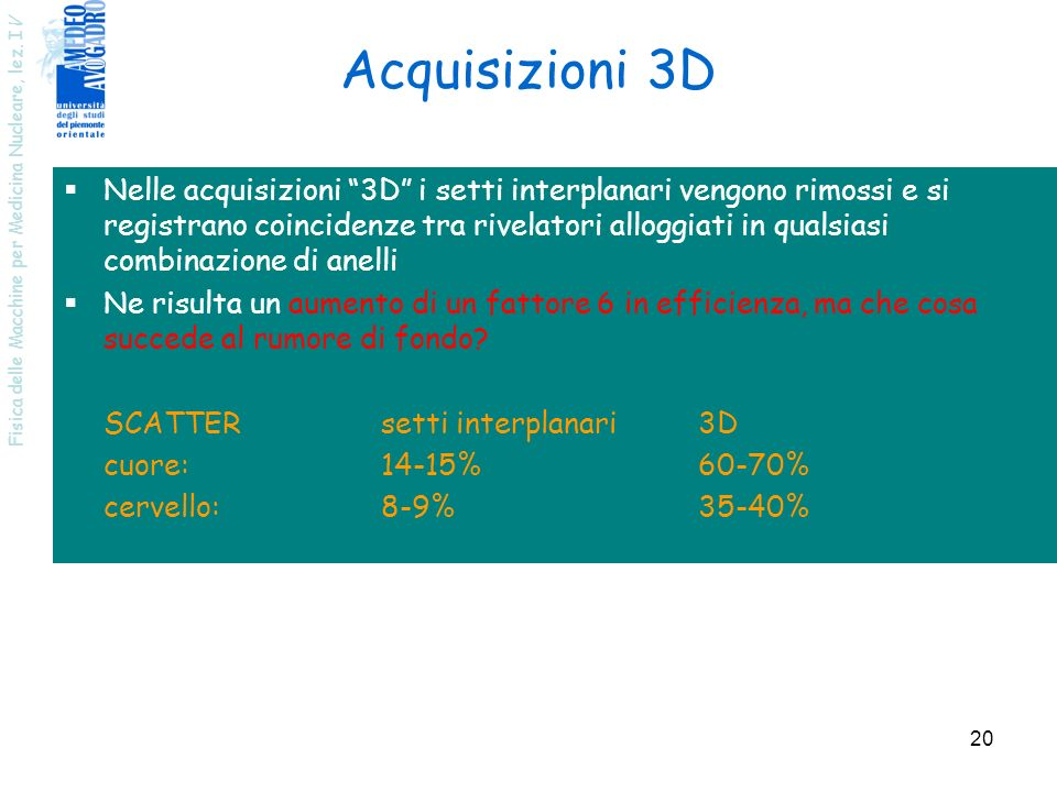 Fisica delle Macchine per Medicina Nucleare, lez. I V 20 Nelle acquisizioni 3D i setti interplanari vengono rimossi e si registrano coincidenze tra ri