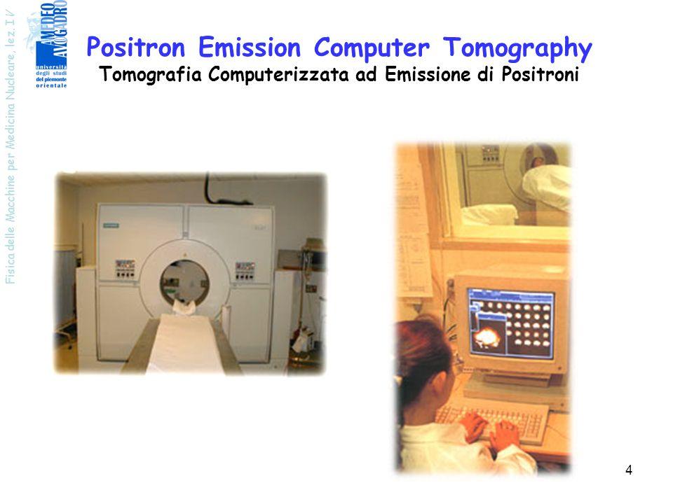 Fisica delle Macchine per Medicina Nucleare, lez. I V 4 Positron Emission Computer Tomography Tomografia Computerizzata ad Emissione di Positroni