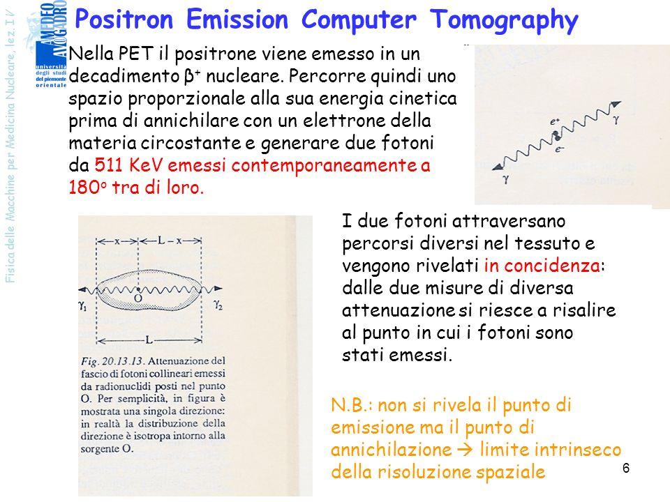 Fisica delle Macchine per Medicina Nucleare, lez. I V 6 Positron Emission Computer Tomography Nella PET il positrone viene emesso in un decadimento β