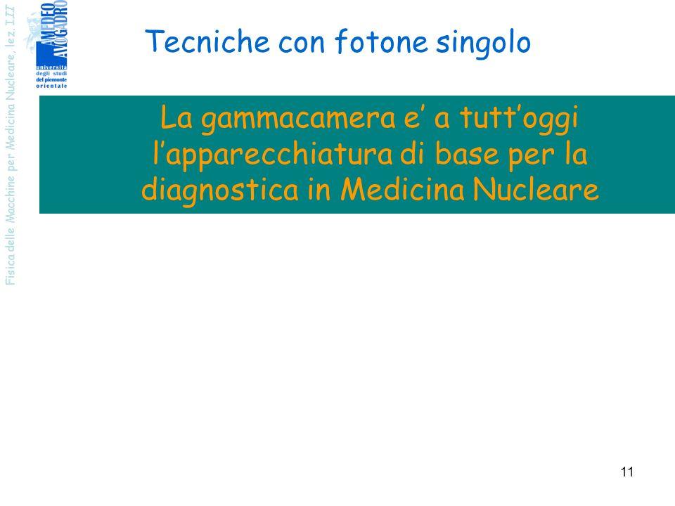 Fisica delle Macchine per Medicina Nucleare, lez. I II 11 Tecniche con fotone singolo La gammacamera e a tuttoggi lapparecchiatura di base per la diag