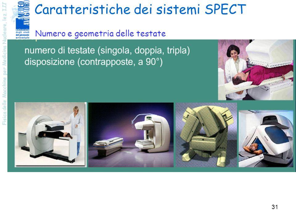 Fisica delle Macchine per Medicina Nucleare, lez. III 31 Caratteristiche dei sistemi SPECT Numero e geometria delle testate