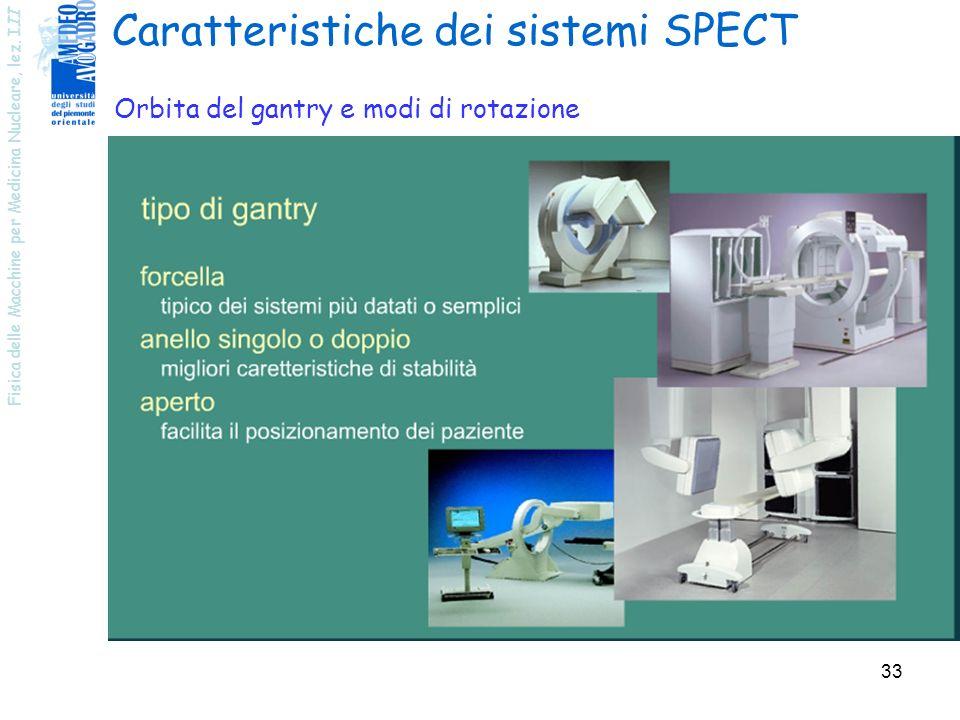 Fisica delle Macchine per Medicina Nucleare, lez. III 33 Caratteristiche dei sistemi SPECT Orbita del gantry e modi di rotazione