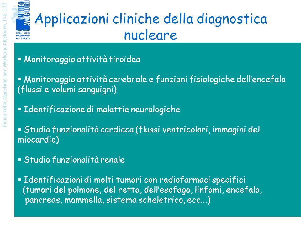 Fisica delle Macchine per Medicina Nucleare, lez. I II 7 Monitoraggio attività tiroidea Monitoraggio attività cerebrale e funzioni fisiologiche dellen
