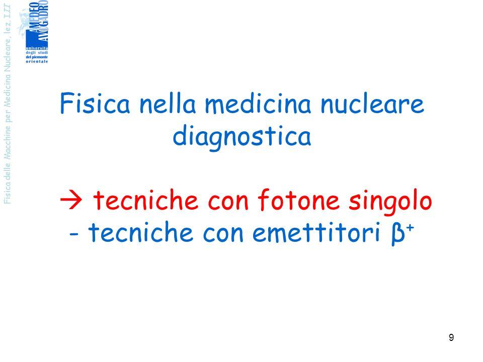 Fisica delle Macchine per Medicina Nucleare, lez. I II 9 Fisica nella medicina nucleare diagnostica tecniche con fotone singolo - tecniche con emettit
