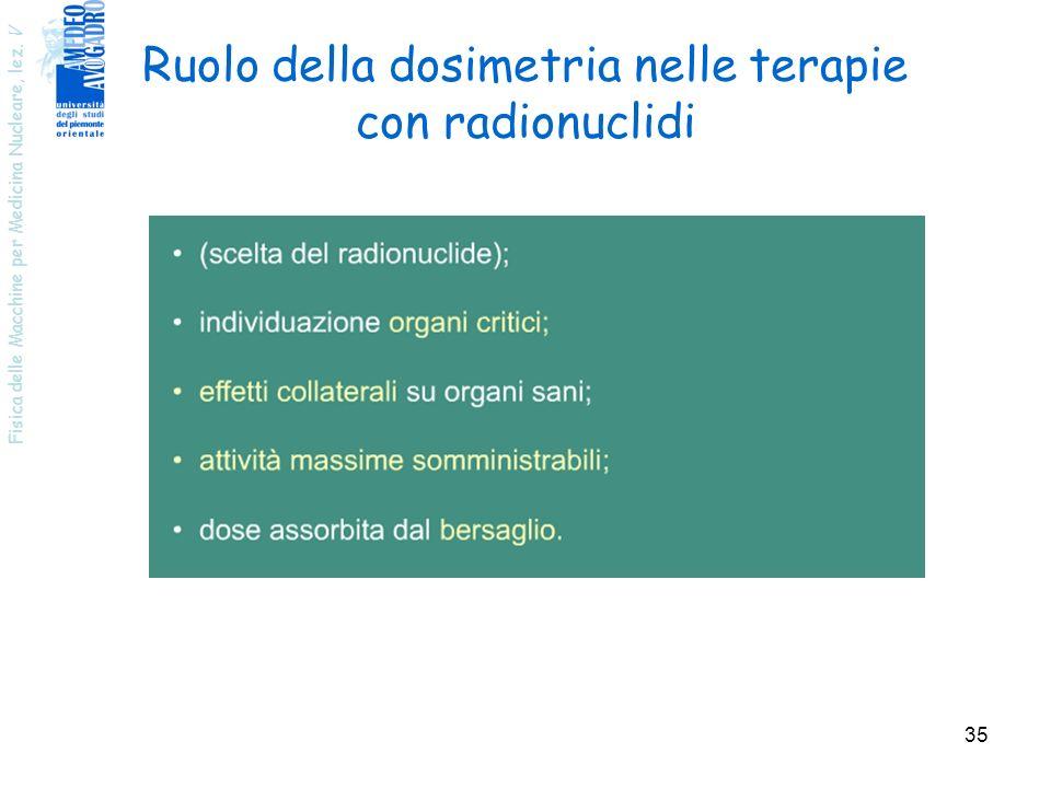 Fisica delle Macchine per Medicina Nucleare, lez. V 35 Ruolo della dosimetria nelle terapie con radionuclidi