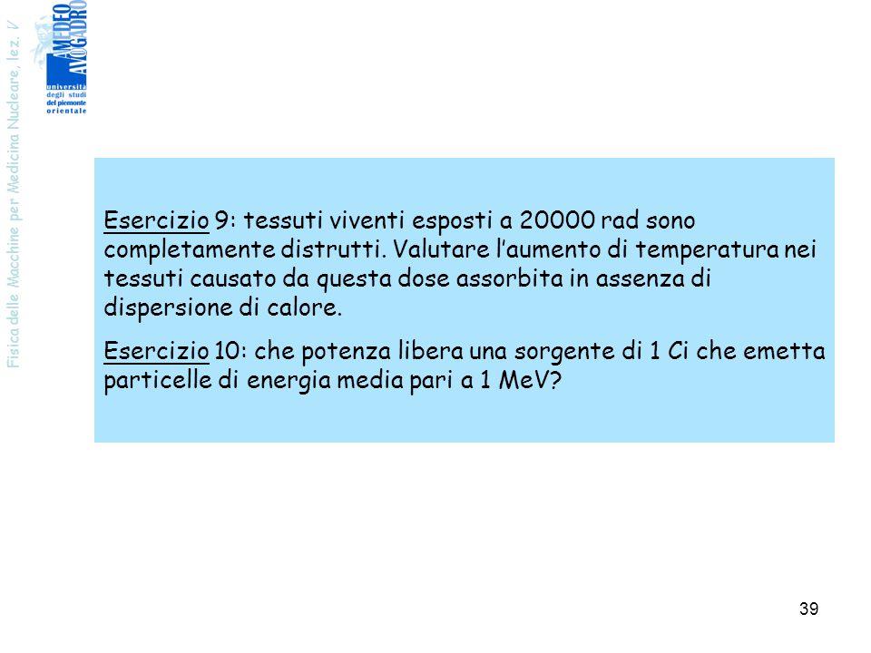 Fisica delle Macchine per Medicina Nucleare, lez. V 40 Fisica della produzione di radionuclidi