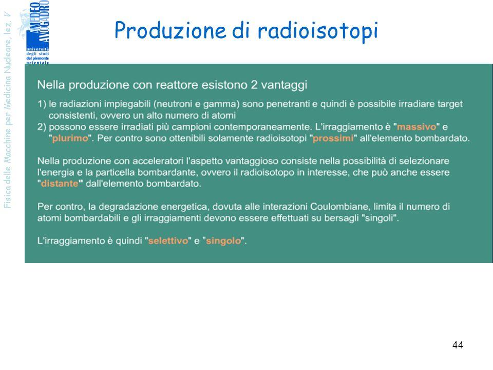Fisica delle Macchine per Medicina Nucleare, lez. V 44 Produzione di radioisotopi