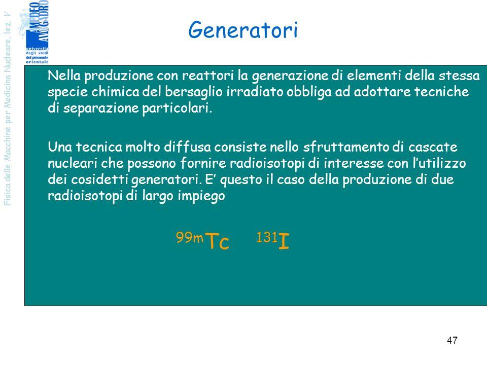Fisica delle Macchine per Medicina Nucleare, lez. V 47 Generatori Nella produzione con reattori la generazione di elementi della stessa specie chimica