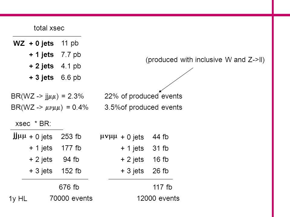 ZZ+ 0 jets + 1 jets + 2 jets + 3 jets 12 pb 6.1 pb 2.4 pb 2.8 pb BR(ZZ -> jj ) = 4.7% BR(ZZ -> ) = 0.1% 22% of produced events 1% of produced events jj + 0 jets + 1 jets + 2 jets + 3 jets 564 fb 287 fb 113 fb 132 fb (produced with an inclusive Z and a Z->ll) total xsec + 0 jets + 1 jets + 2 jets + 3 jets 12 fb 6 fb 2.4 fb 2.8 fb xsec * BR: 1096 fb 1y HL 10^5 events 23.2 fb 2300 events