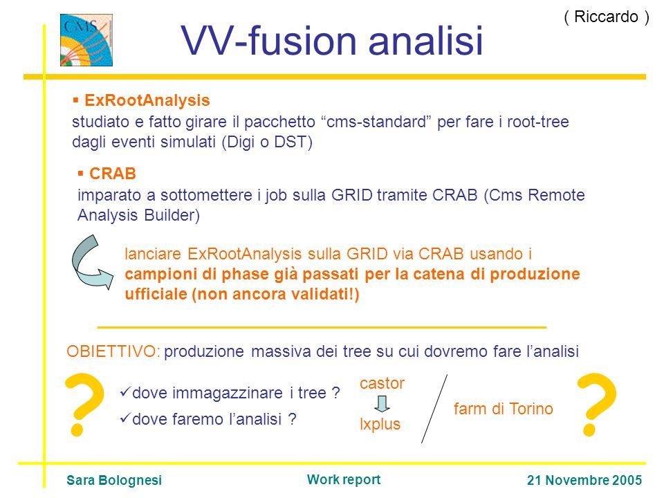 VV-fusion analisi studiato e fatto girare il pacchetto cms-standard per fare i root-tree dagli eventi simulati (Digi o DST) imparato a sottomettere i job sulla GRID tramite CRAB (Cms Remote Analysis Builder) ExRootAnalysis lanciare ExRootAnalysis sulla GRID via CRAB usando i campioni di phase già passati per la catena di produzione ufficiale (non ancora validati!) Sara Bolognesi21 Novembre 2005 Work report CRAB OBIETTIVO: produzione massiva dei tree su cui dovremo fare lanalisi dove immagazzinare i tree .