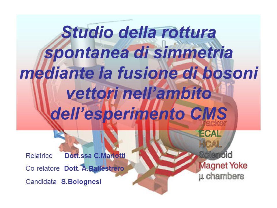 Studio della rottura spontanea di simmetria mediante la fusione di bosoni vettori nellambito dellesperimento CMS Relatrice Dott.ssa C.Mariotti Co-rela