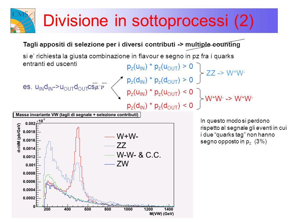 Divisione in sottoprocessi (2) Tagli appositi di selezione per i diversi contributi -> multiple counting si e richiesta la giusta combinazione in flav