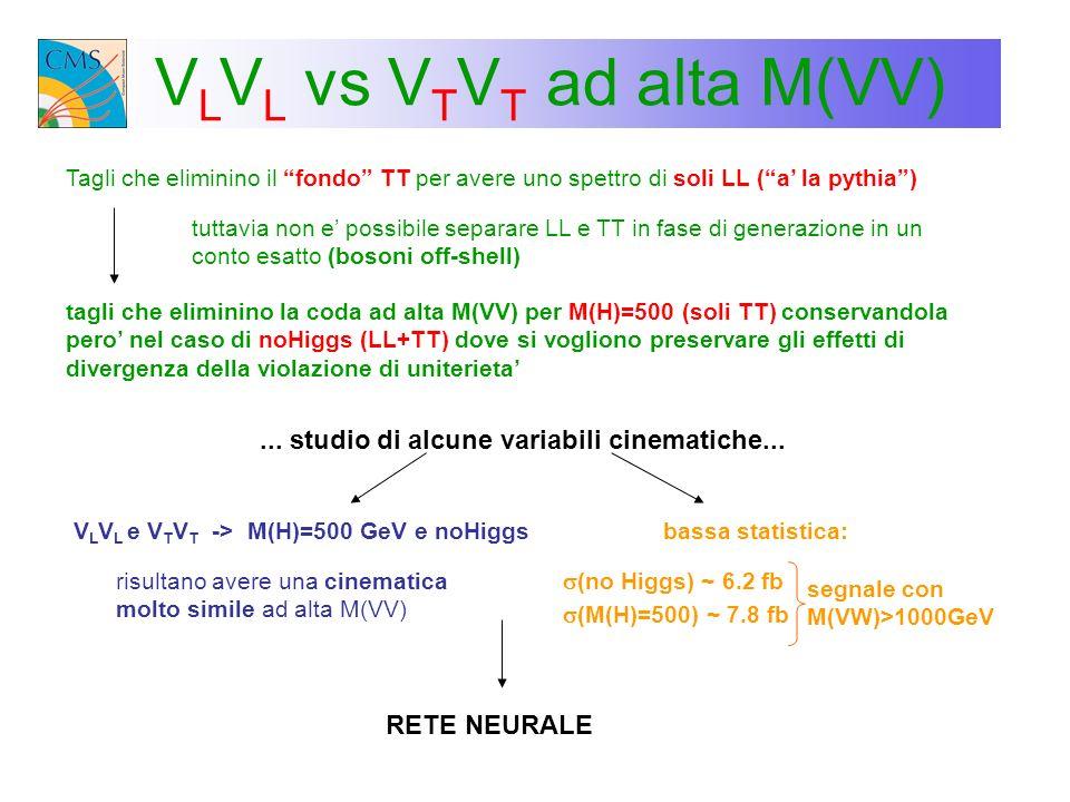 V L V L vs V T V T ad alta M(VV) Tagli che eliminino il fondo TT per avere uno spettro di soli LL (a la pythia) tuttavia non e possibile separare LL e