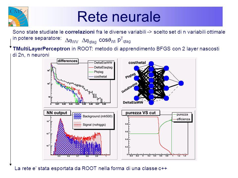 Rete neurale Sono state studiate le correlazioni fra le diverse variabili -> scelto set di n variabili ottimale in potere separatore: La rete e stata