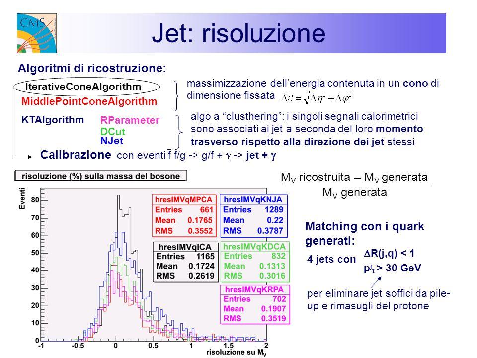 Jet: risoluzione Matching con i quark generati: 4 jets con p j t > 30 GeV R(j,q) < 1 per eliminare jet soffici da pile- up e rimasugli del protone Ite