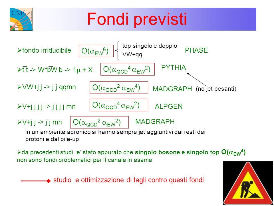 Fondi previsti fondo irriducibile top singolo e doppio VW+qq PHASE PYTHIA O( QCD 4 EW 2 ) VW+j j -> j j qqmn O( QCD 2 EW 4 ) MADGRAPH V+j j -> j j mn