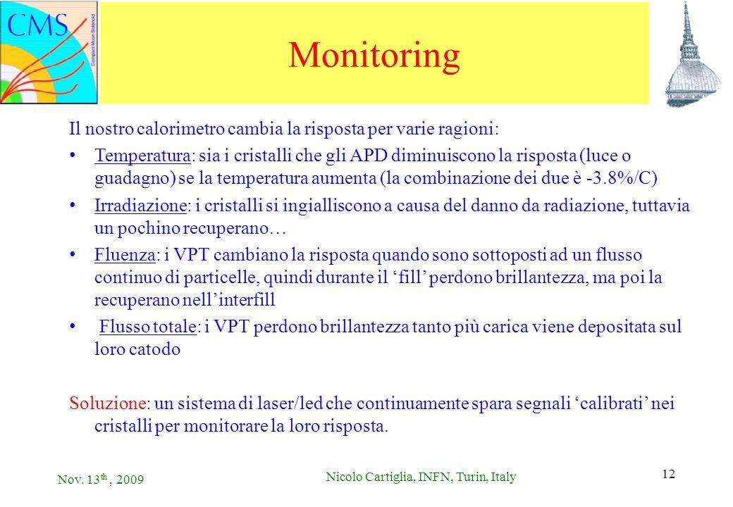 Nov. 13 th, 2009 Nicolo Cartiglia, INFN, Turin, Italy 12 Monitoring Il nostro calorimetro cambia la risposta per varie ragioni: Temperatura: sia i cri