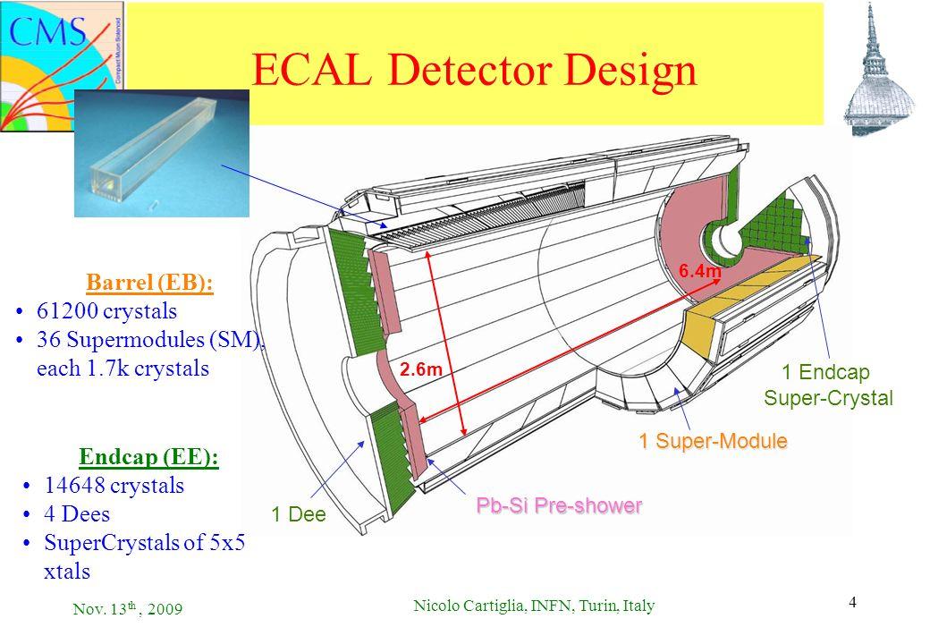 Nov. 13 th, 2009 Nicolo Cartiglia, INFN, Turin, Italy 4 4 ECAL Detector Design 2.6m 6.4m 1 Super-Module 1 Dee 1 Endcap Super-Crystal Pb-Si Pre-shower