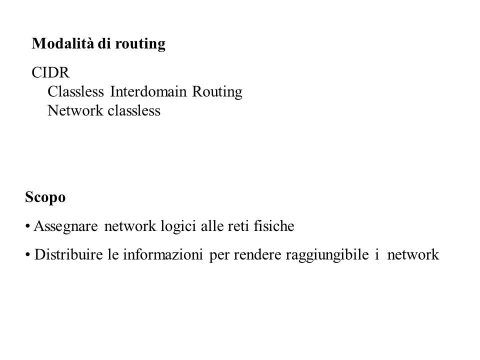 Ex: Cisco IOS Attendibilità = Administration distance 0…255 prefissi interfacce attive0 statiche1 EBGP20 EIGRP90 OSPF110 RIP120 IBGP200 sconosciuto255 Prefissi interfacce attive 35/27 35/32lo 32/27eth0
