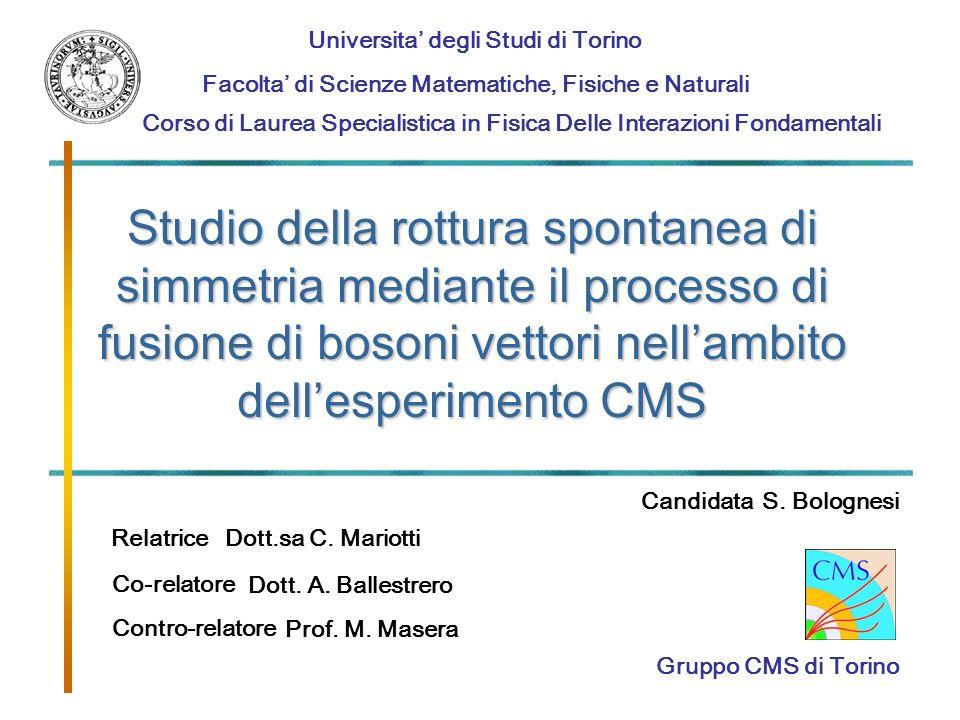 1 Studio della rottura spontanea di simmetria mediante il processo di fusione di bosoni vettori nellambito dellesperimento CMS Universita degli Studi