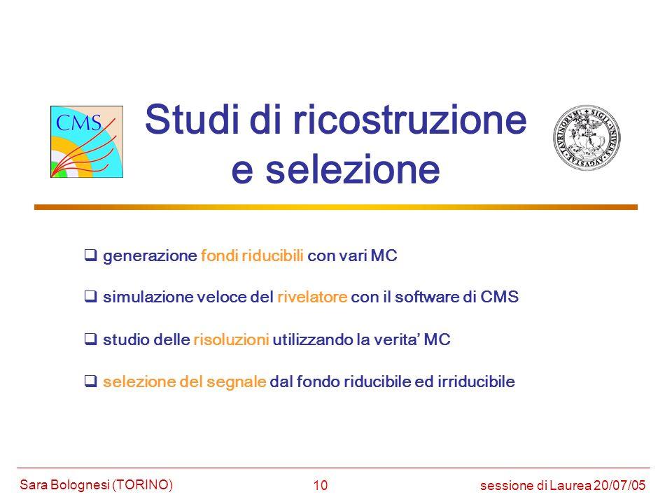10 Studi di ricostruzione e selezione studio delle risoluzioni utilizzando la verita MC selezione del segnale dal fondo riducibile ed irriducibile ses