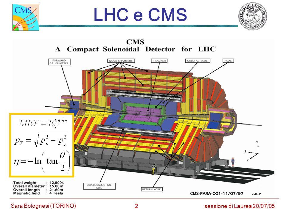 33 CMS: Muoni sessione di Laurea 20/07/05 Sara Bolognesi (TORINO) 4 stazioni intervallate col giogo barrel: DT (MB1-4) endcap: CSC (ME1-4) misura posizione (~ 100 m) misura tempo (~ 1 ns) RPC CSC DT RPC