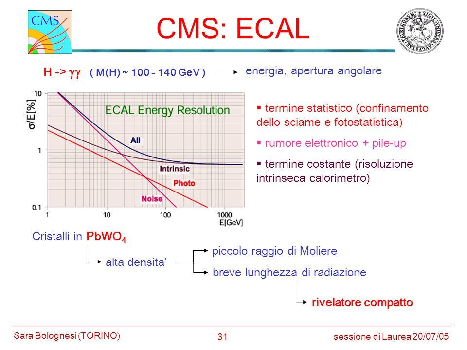 31 CMS: ECAL sessione di Laurea 20/07/05 Sara Bolognesi (TORINO) termine statistico (confinamento dello sciame e fotostatistica) rumore elettronico +