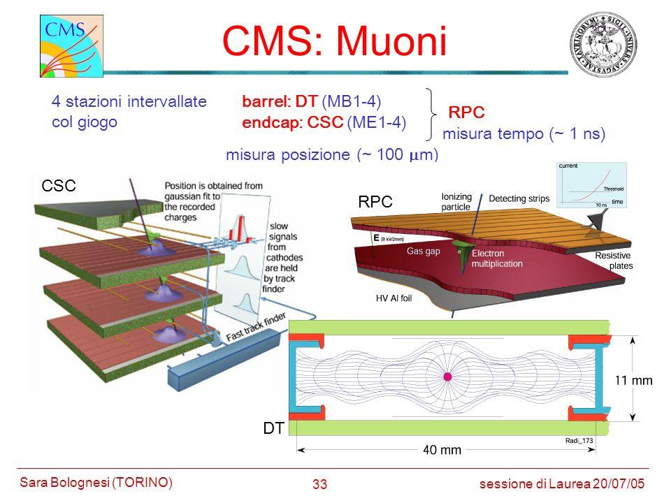 33 CMS: Muoni sessione di Laurea 20/07/05 Sara Bolognesi (TORINO) 4 stazioni intervallate col giogo barrel: DT (MB1-4) endcap: CSC (ME1-4) misura posi