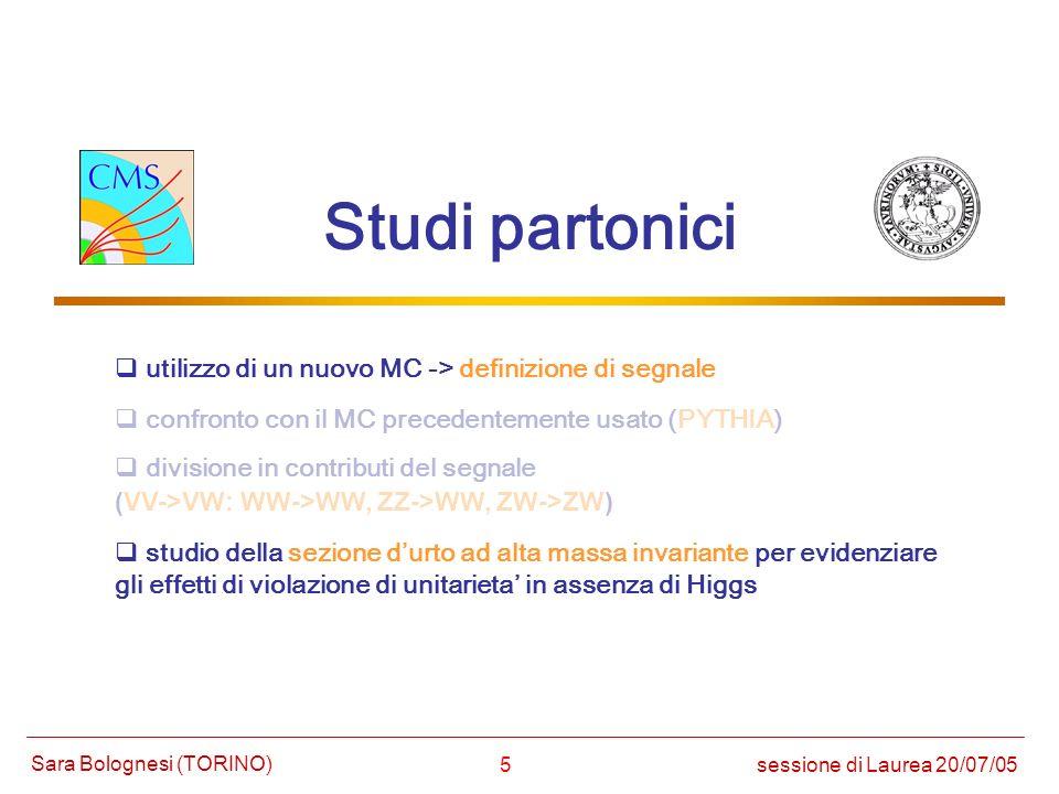 16 Procedura di analisi (1) Ricostruzione del segnale (p T jet > 20 GeV) scelta del muone con massimo p T p T = MET (p T > 20 GeV) ricostruzione del bosone adronico ricostruzione del bosone leptonico 63 % segnale (NoHiggs) fondo 44 % 73 %50 % 60 %38 % richiesta 2 jet aggiuntivi quark tag = restanti 2 jet piuenergetici sessione di Laurea 20/07/05 Sara Bolognesi (TORINO) | j1 |, | j2 | <3 50 < M(j1,j2) <125 (GeV) | j1 - j2 | < 2 (p T > 20 GeV) Tagli ottimizzati per no-Higgs per evitare eventuali bias dovuti alla produzione di un oggetto massivo