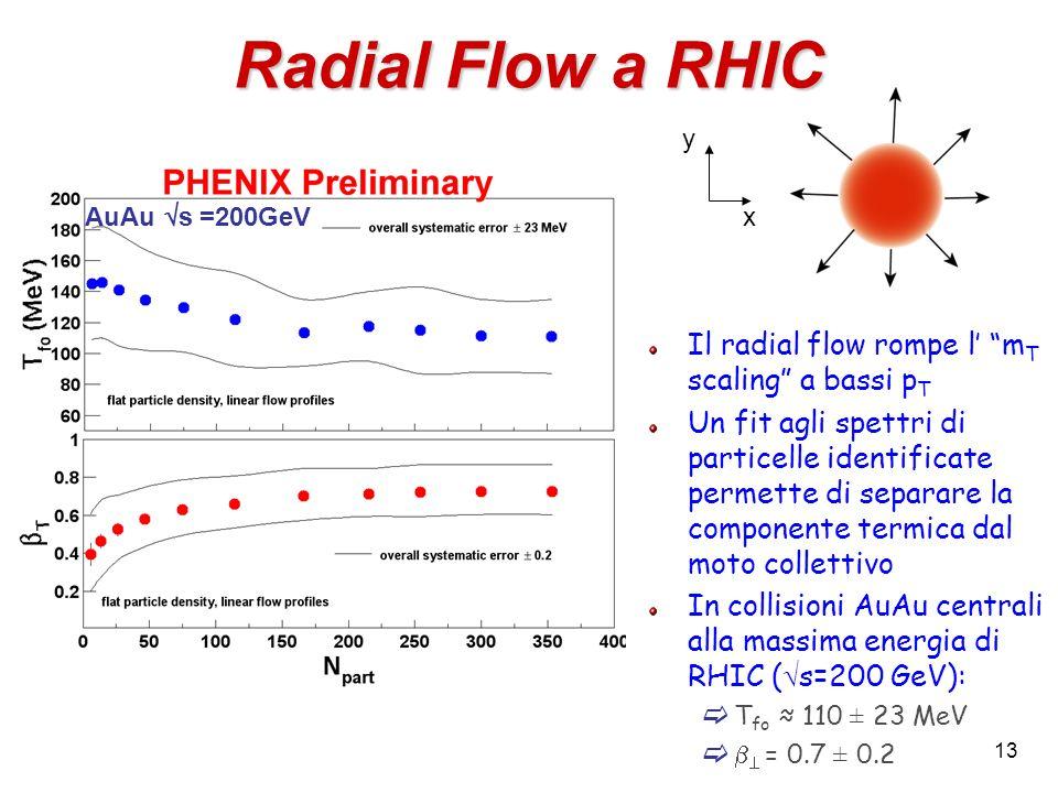 13 Radial Flow a RHIC Il radial flow rompe l m T scaling a bassi p T Un fit agli spettri di particelle identificate permette di separare la componente