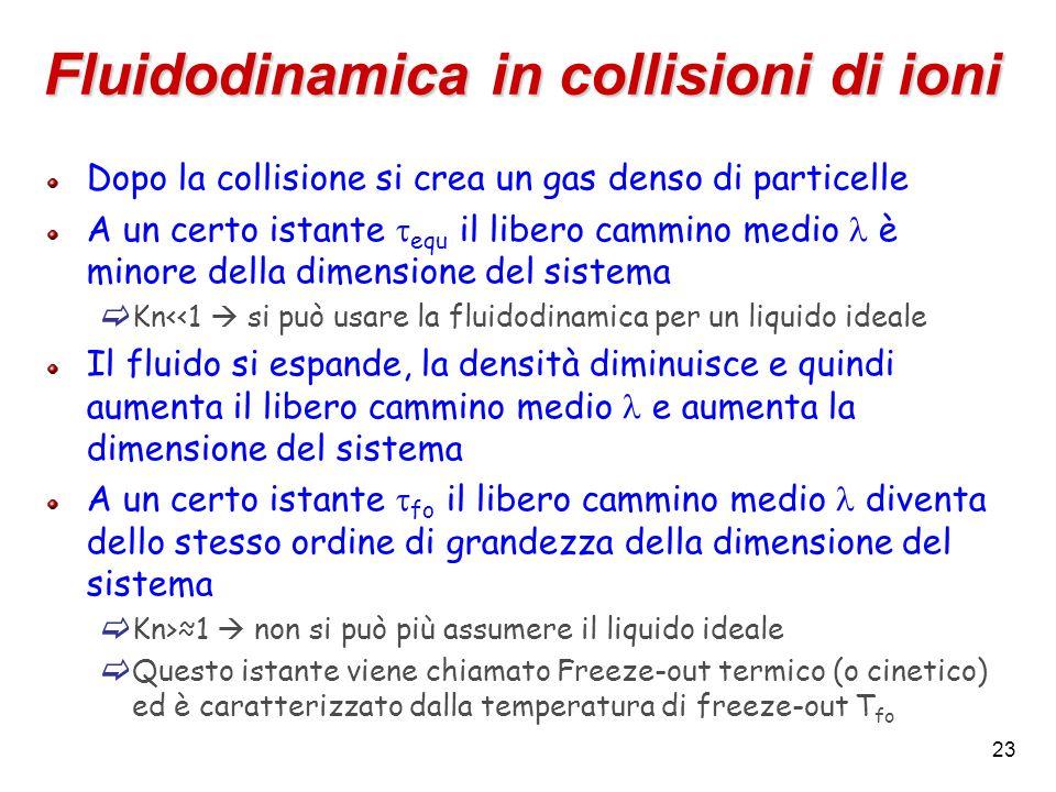 23 Fluidodinamica in collisioni di ioni Dopo la collisione si crea un gas denso di particelle A un certo istante equ il libero cammino medio è minore