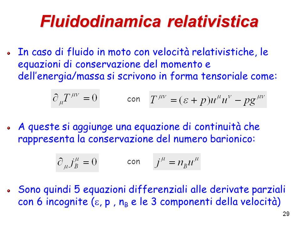 29 Fluidodinamica relativistica In caso di fluido in moto con velocità relativistiche, le equazioni di conservazione del momento e dellenergia/massa s