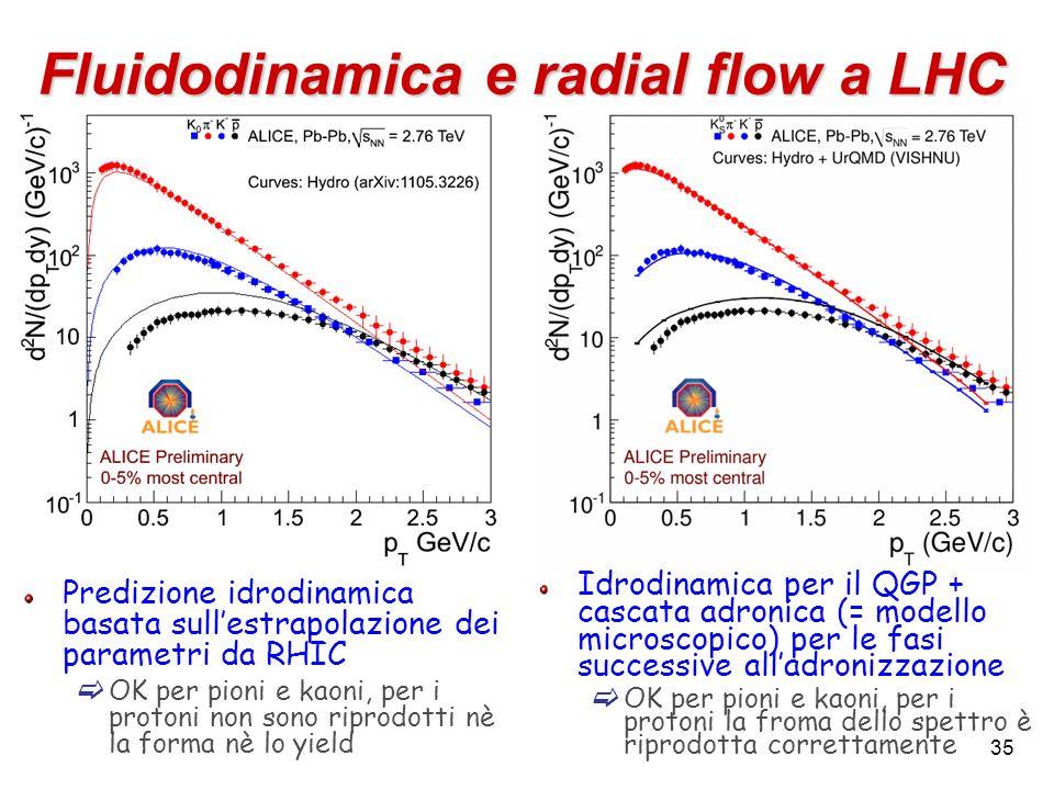 35 Fluidodinamica e radial flow a LHC Predizione idrodinamica basata sullestrapolazione dei parametri da RHIC OK per pioni e kaoni, per i protoni non