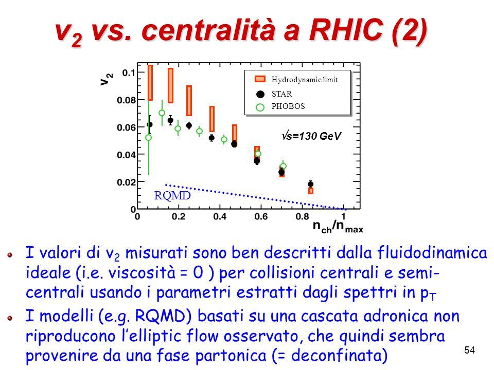54 v 2 vs. centralità a RHIC (2) Hydrodynamic limit STAR PHOBOS Hydrodynamic limit STAR PHOBOS RQMD s=130 GeV I valori di v 2 misurati sono ben descri