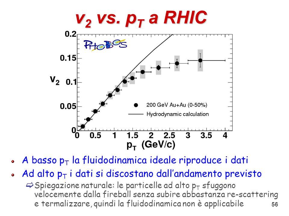 56 v 2 vs. p T a RHIC A basso p T la fluidodinamica ideale riproduce i dati Ad alto p T i dati si discostano dallandamento previsto Spiegazione natura