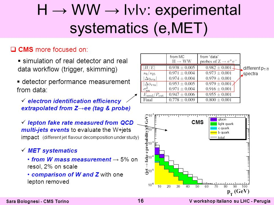CMS more focused on: simulation of real detector and real data workflow (trigger, skimming) detector performance measurement from data: electron identification efficiency extrapolated from Zee (tag & probe) lepton fake rate measured from QCD multi-jets events to evaluate the W+jets impact from MCfrom data different p T, spectra (different jet flavour decomposition under study) MET systematics from W mass measurement 5% on resol, 2% on scale comparison of W and Z with one lepton removed H WW l l : experimental systematics (e,MET) 16 Sara Bolognesi - CMS Torino V workshop italiano su LHC - Perugia CMS