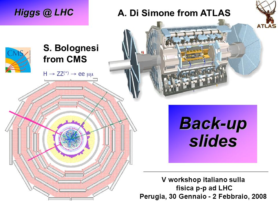 S. Bolognesi from CMS Back-up slides V workshop italiano sulla fisica p-p ad LHC Perugia, 30 Gennaio - 2 Febbraio, 2008 A. Di Simone from ATLAS Higgs