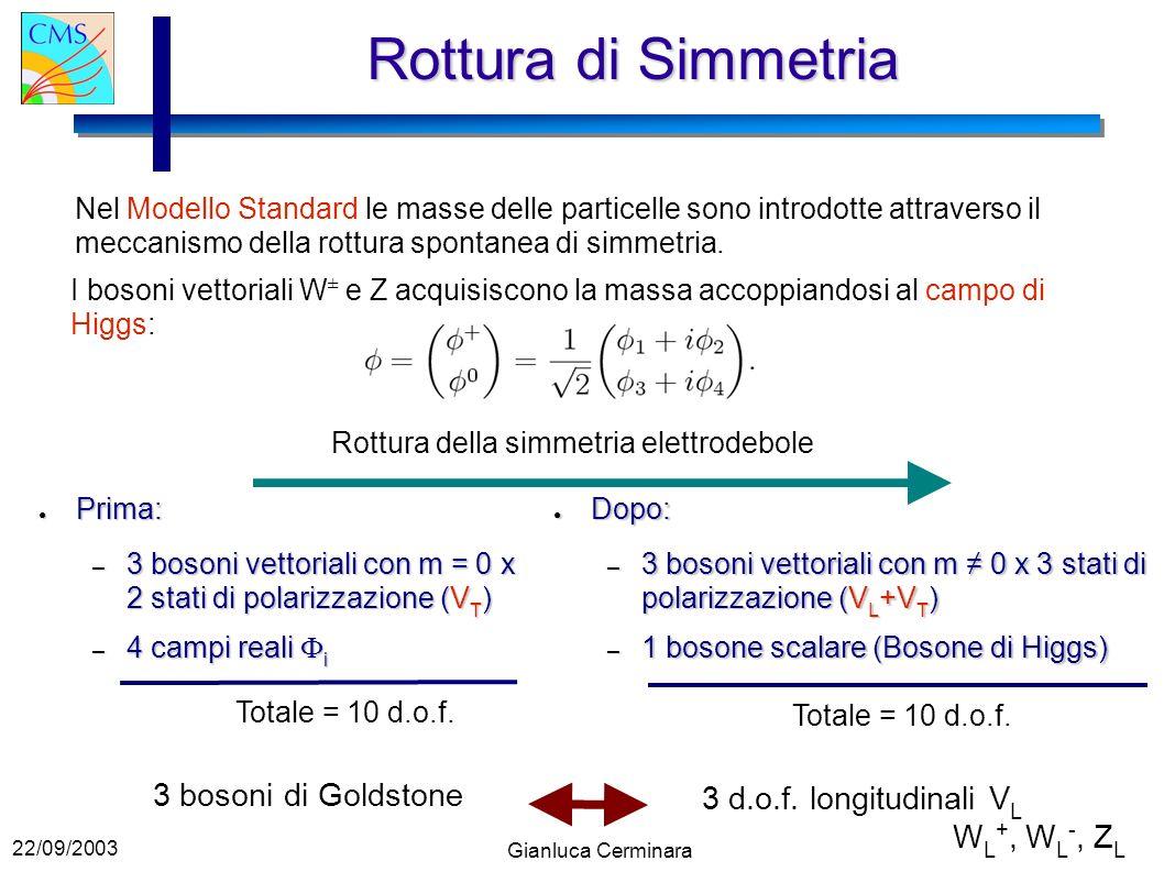 22/09/2003 Gianluca Cerminara Rottura di Simmetria Nel Modello Standard le masse delle particelle sono introdotte attraverso il meccanismo della rottura spontanea di simmetria.