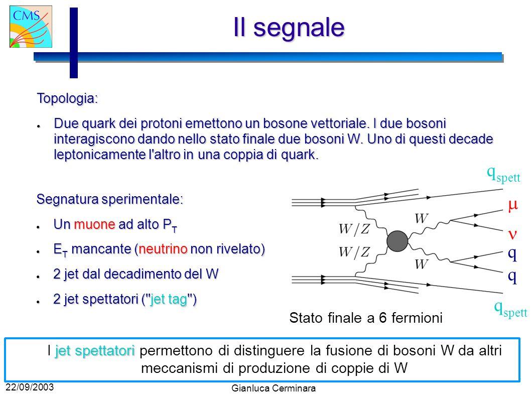 22/09/2003 Gianluca CerminaraEfficienze Efficienza di segnale integrata tra 0 GeV < M WW < 2000 GeV : ~20 % Efficienza di segnale integrata tra 0 GeV < M WW < 2000 GeV : ~20 % Efficienza di segnale per M WW > 800 GeV: ~40- 50 % Efficienza di segnale per M WW > 800 GeV: ~40- 50 % Particolarmente interessante nel caso in cui l Higgs non esista.