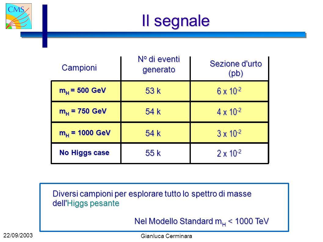 22/09/2003 Gianluca Cerminara 6 x 10 -2 53 k m H = 500 GeV m H = 750 GeV 54 k 4 x 10 -2 3 x 10 -2 54 k m H = 1000 GeV No Higgs case 55 k 2 x 10 -2 Il segnale Diversi campioni per esplorare tutto lo spettro di masse dell Higgs pesante Campioni N o di eventi generato Sezione d urto (pb) Nel Modello Standard m H < 1000 TeV