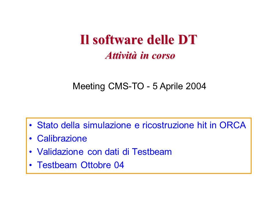 Il software delle DT Attività in corso Stato della simulazione e ricostruzione hit in ORCA Calibrazione Validazione con dati di Testbeam Testbeam Ottobre 04 Meeting CMS-TO - 5 Aprile 2004