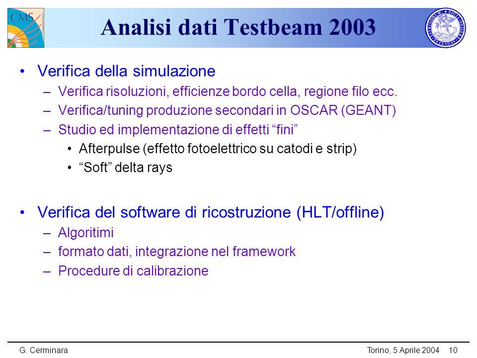 G. CerminaraTorino, 5 Aprile 200410 Analisi dati Testbeam 2003 Verifica della simulazione –Verifica risoluzioni, efficienze bordo cella, regione filo