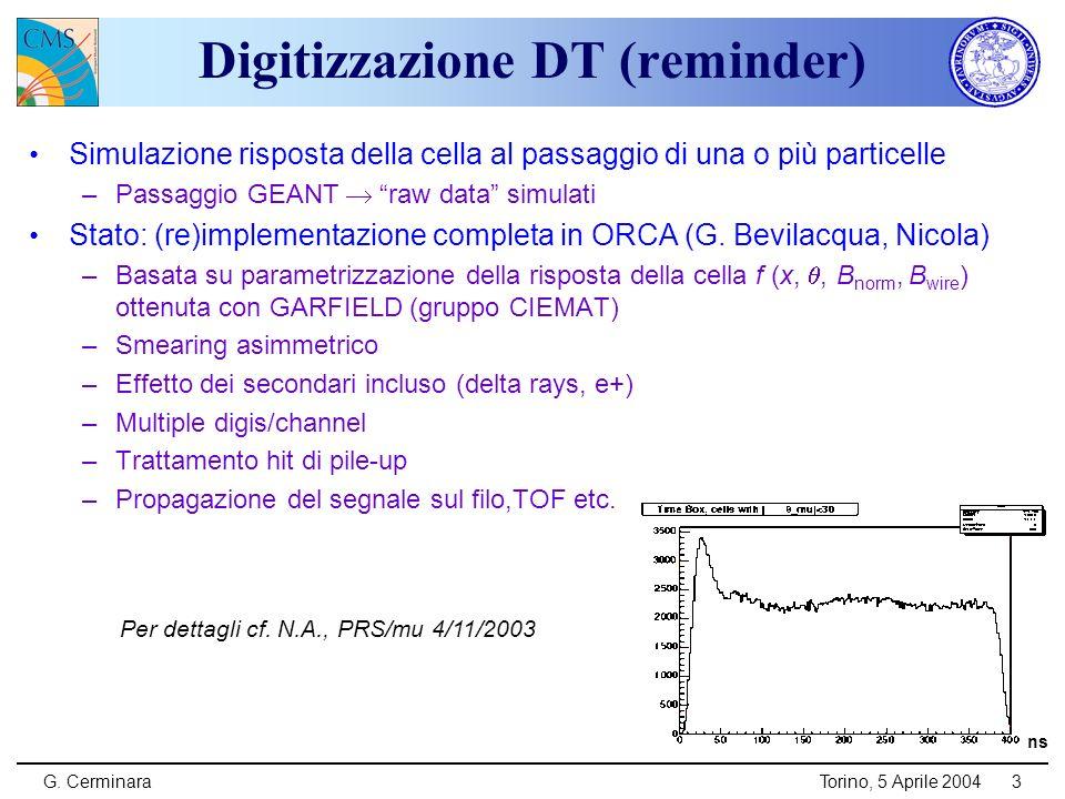 G. CerminaraTorino, 5 Aprile 20043 ns Digitizzazione DT (reminder) Simulazione risposta della cella al passaggio di una o più particelle –Passaggio GE
