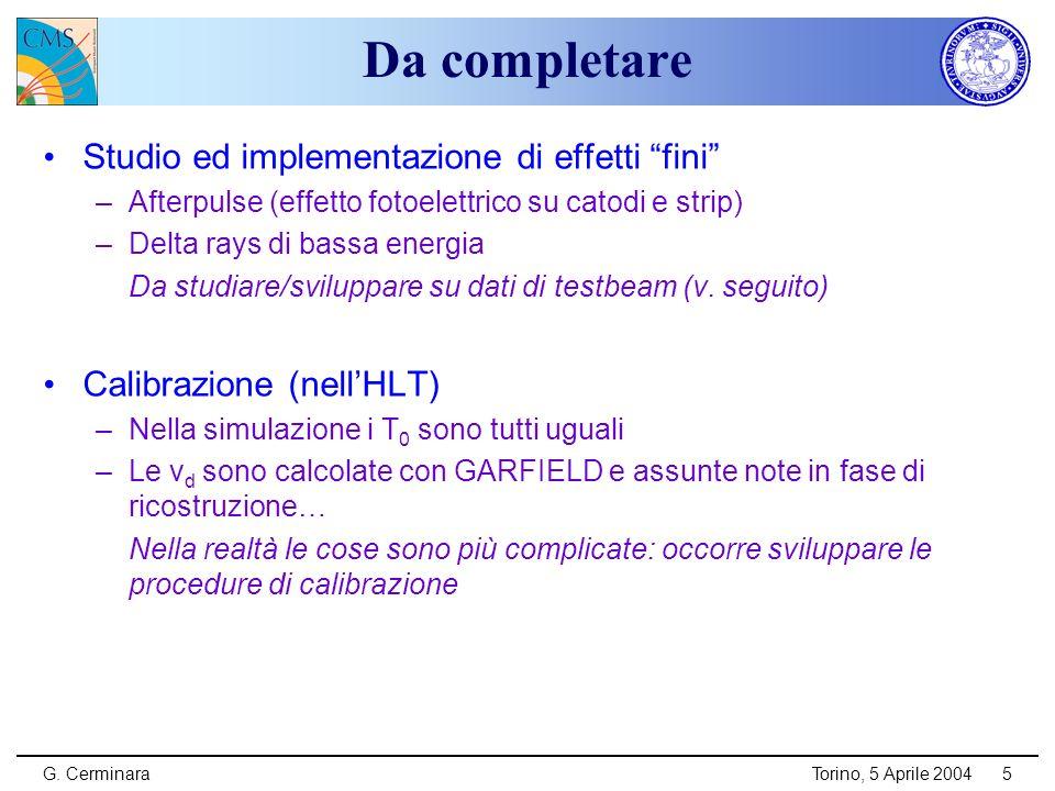 G. CerminaraTorino, 5 Aprile 20045 Da completare Studio ed implementazione di effetti fini –Afterpulse (effetto fotoelettrico su catodi e strip) –Delt